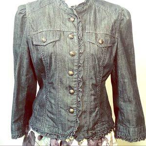 Ann Taylor Loft Denim Ruffle Jacket w/ Pockets